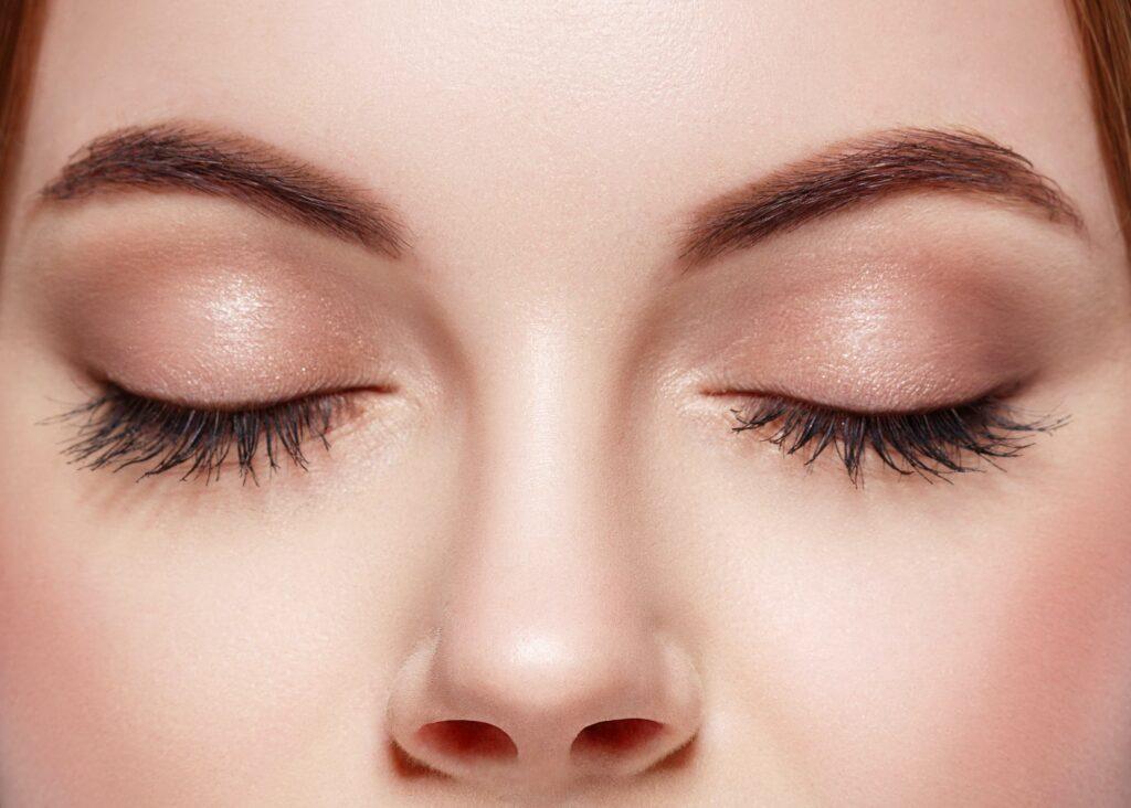 Eyes woman closed eyebrow eyes lashes